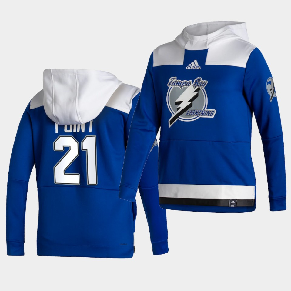 Cheap Men Tampa Bay Lightning 21 Point Blue NHL 2021 Adidas Pullover Hoodie Jersey